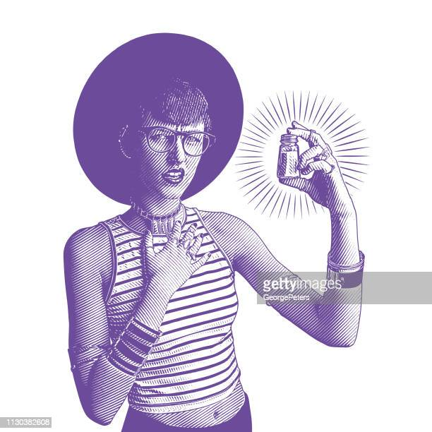 Young hipster woman holding salt shaker with confused facial expression
