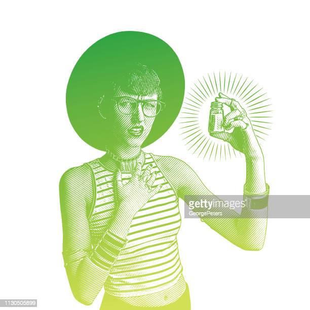 young hipster woman holding salt shaker with confused facial expression - bisexuality stock illustrations, clip art, cartoons, & icons