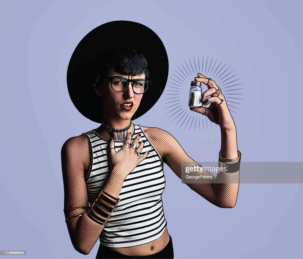 Young hipster woman holding salt shaker with confused facial expression : stock illustration