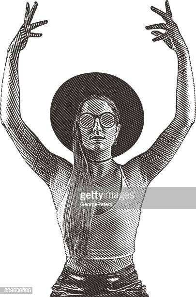 Young hipster woman wearing crop top and sunglasses with raised arms