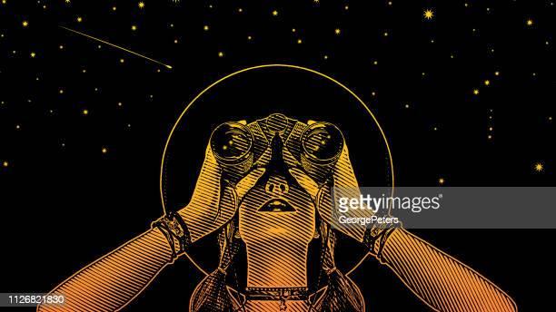 ilustraciones, imágenes clip art, dibujos animados e iconos de stock de mujer joven inconformista con prismáticos y estrellas - estrella fugaz