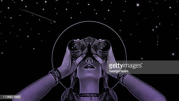 Frau junge Hipster mit Fernglas und Sternen
