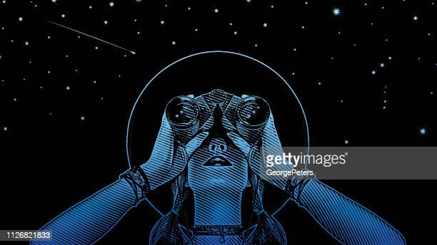 young hipster woman with binoculars and stars - reveal stock illustrations, clip art, cartoons, & icons