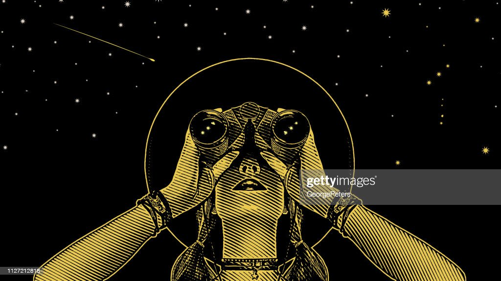 Young hipster woman with binoculars and stars : stock illustration