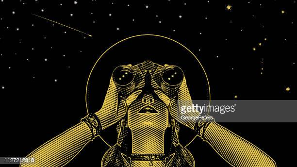 young hipster woman with binoculars and stars - planning stock illustrations