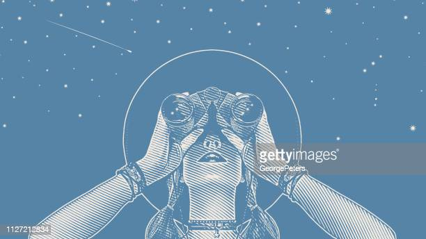 young hipster woman with binoculars and stars - ethereal stock illustrations, clip art, cartoons, & icons