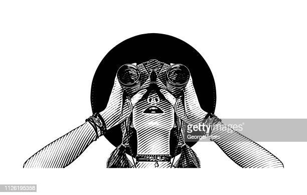 young hipster woman with binoculars - women's issues stock illustrations, clip art, cartoons, & icons