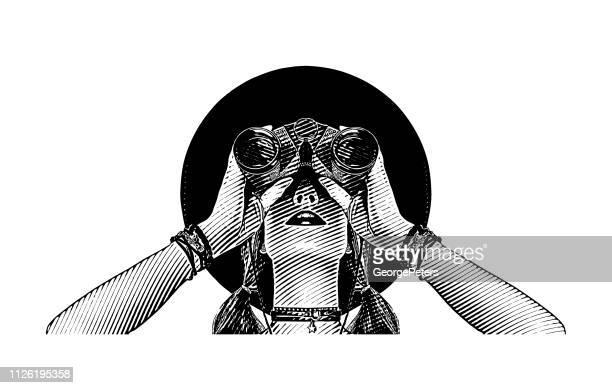 illustrations, cliparts, dessins animés et icônes de femme jeune hipster avec jumelles - gravure