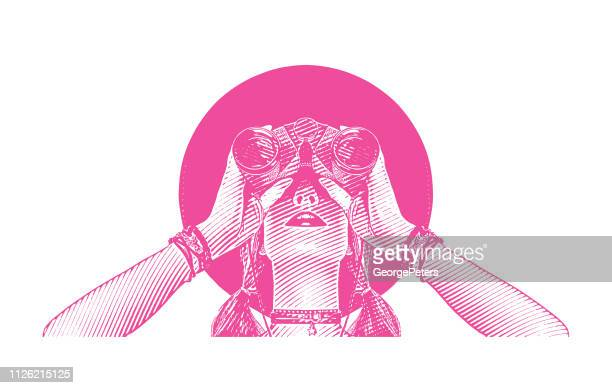 young hipster woman with binoculars - women's rights stock illustrations