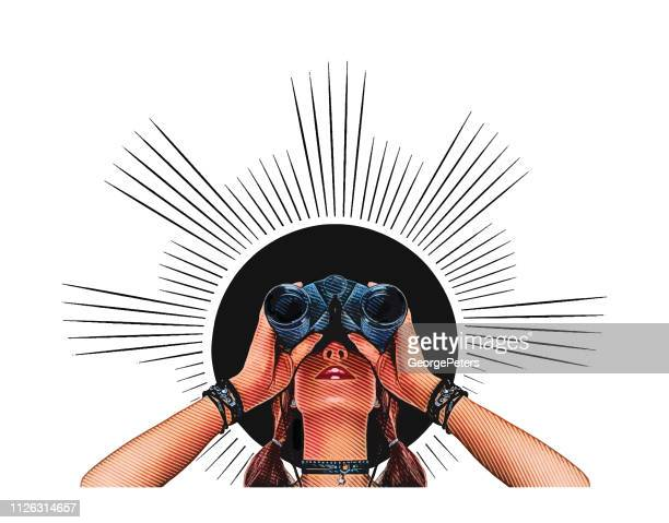 young hipster woman with binoculars - binoculars stock illustrations