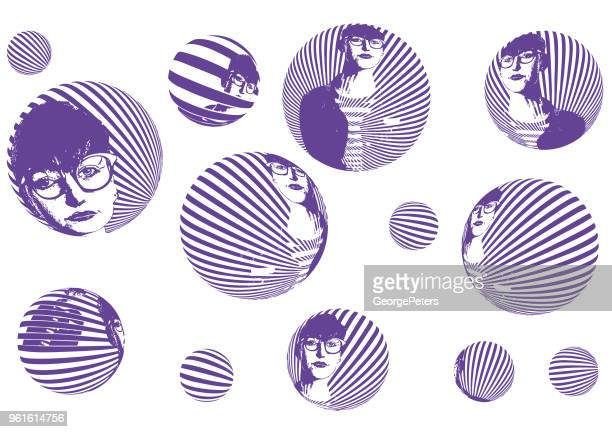Young hipster woman's face with halftone pattern