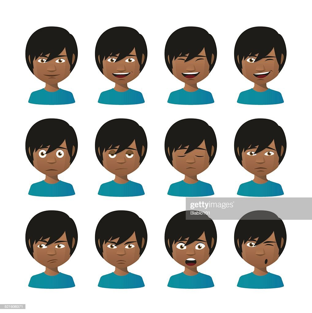 young indian men avatar expression set