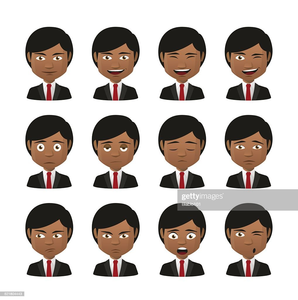 young indian men wearing suit avatar expression set