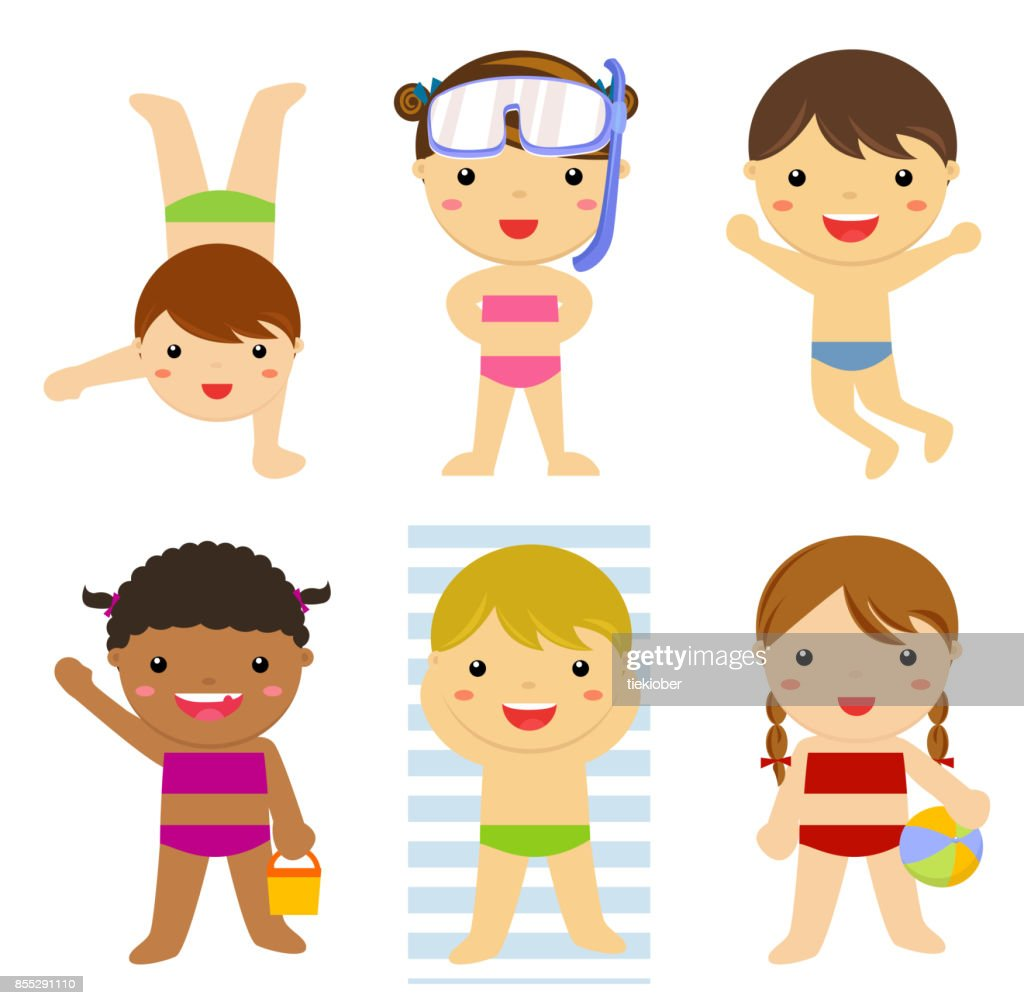 Young kids in swimsuits playing
