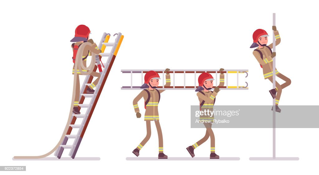 Young male firefighter at ladder and pole