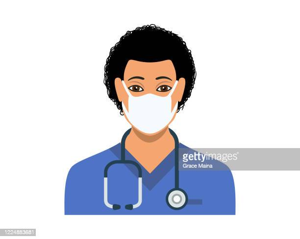 young male nurse in blue nurse's scrubs with a stethoscope vector - scrubs stock illustrations