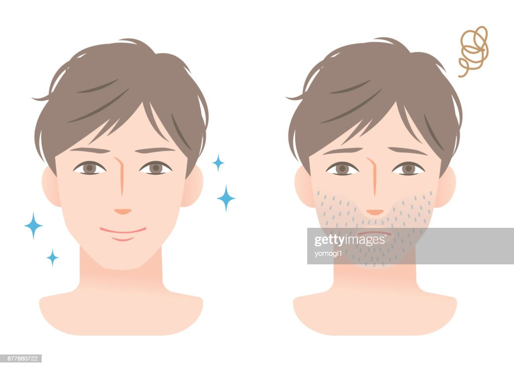 young male with stubble beard before and after shaving
