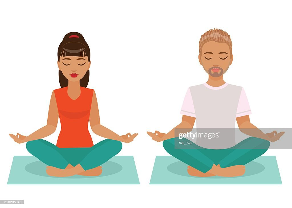 Young Man and Woman Doing Yoga