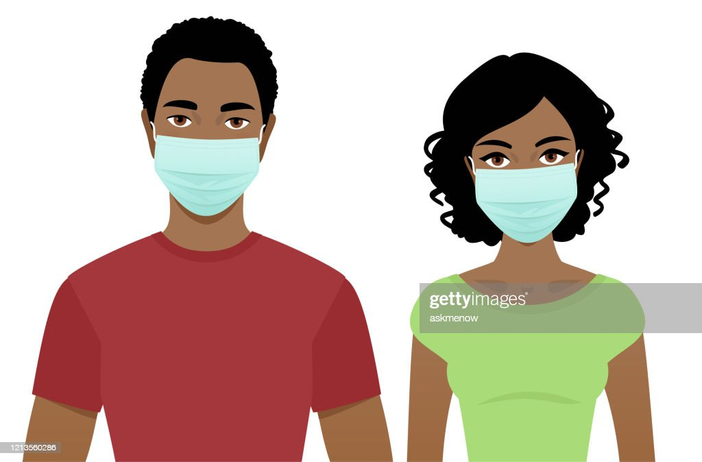 Young man and woman in surgical masks : stock illustration
