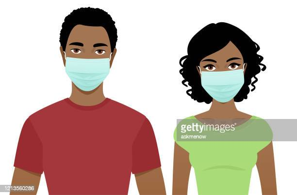 young man and woman in surgical masks - young adult stock illustrations