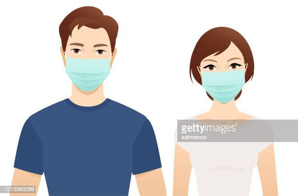 illustrations, cliparts, dessins animés et icônes de jeune homme et femme dans des masques chirurgicaux - seulement des adultes