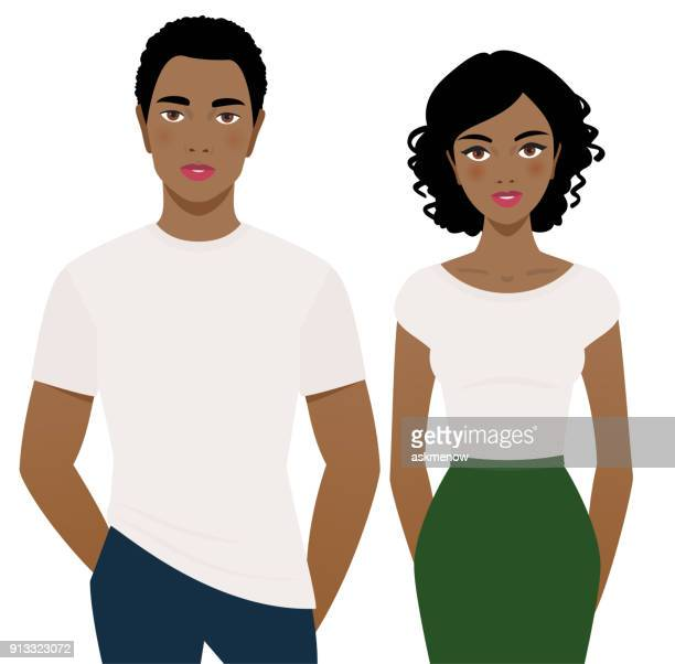 Young man and woman in white t-shirts