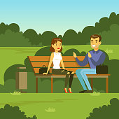 Young man and woman sitting on the bench in the park and talking, flat vector illustration