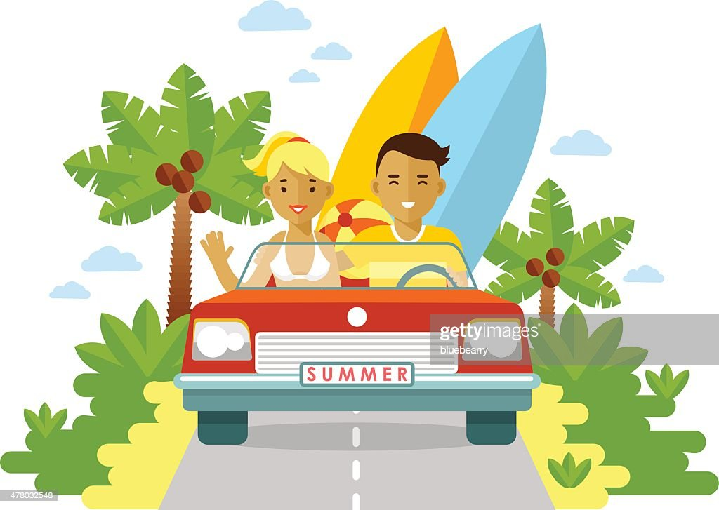 Young man and woman with surfboards traveling by car