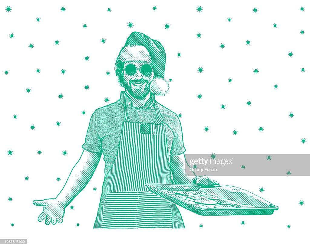 Joven, hornear galletas : Ilustración de stock