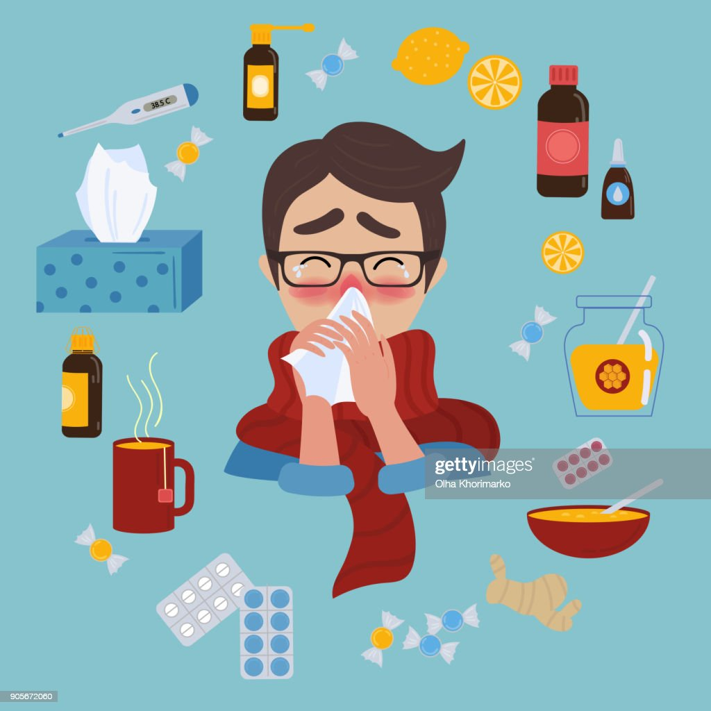 Young man caught cold flu or virus. Treatment of illness
