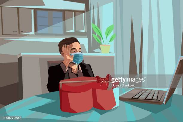 young man celebrating saint valentine's day with his girlfriend online during covid19 pandemic - valentine' day stock illustrations