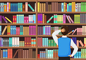 Young man chooses a book in the library. Vectror illustration.