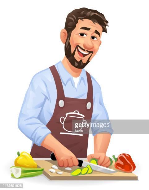 野菜を切る若者 - 料理人点のイラスト素材/クリップアート素材/マンガ素材/アイコン素材