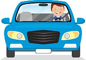 Young man driving blue car