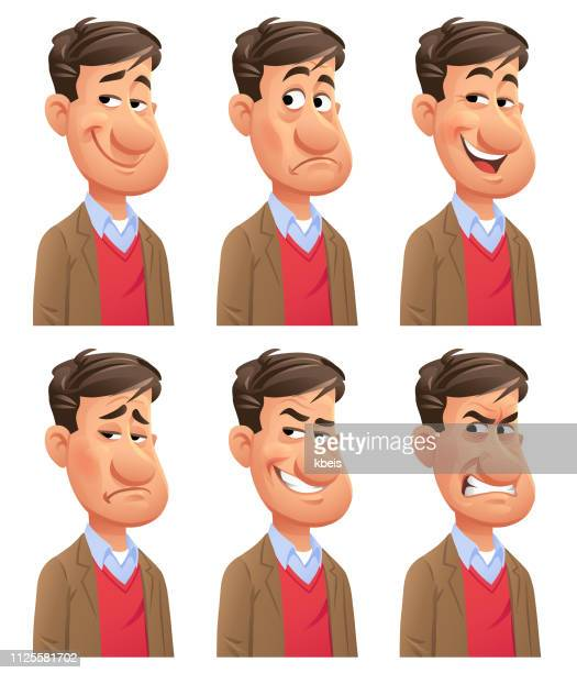 young man emotions - avatar stock illustrations