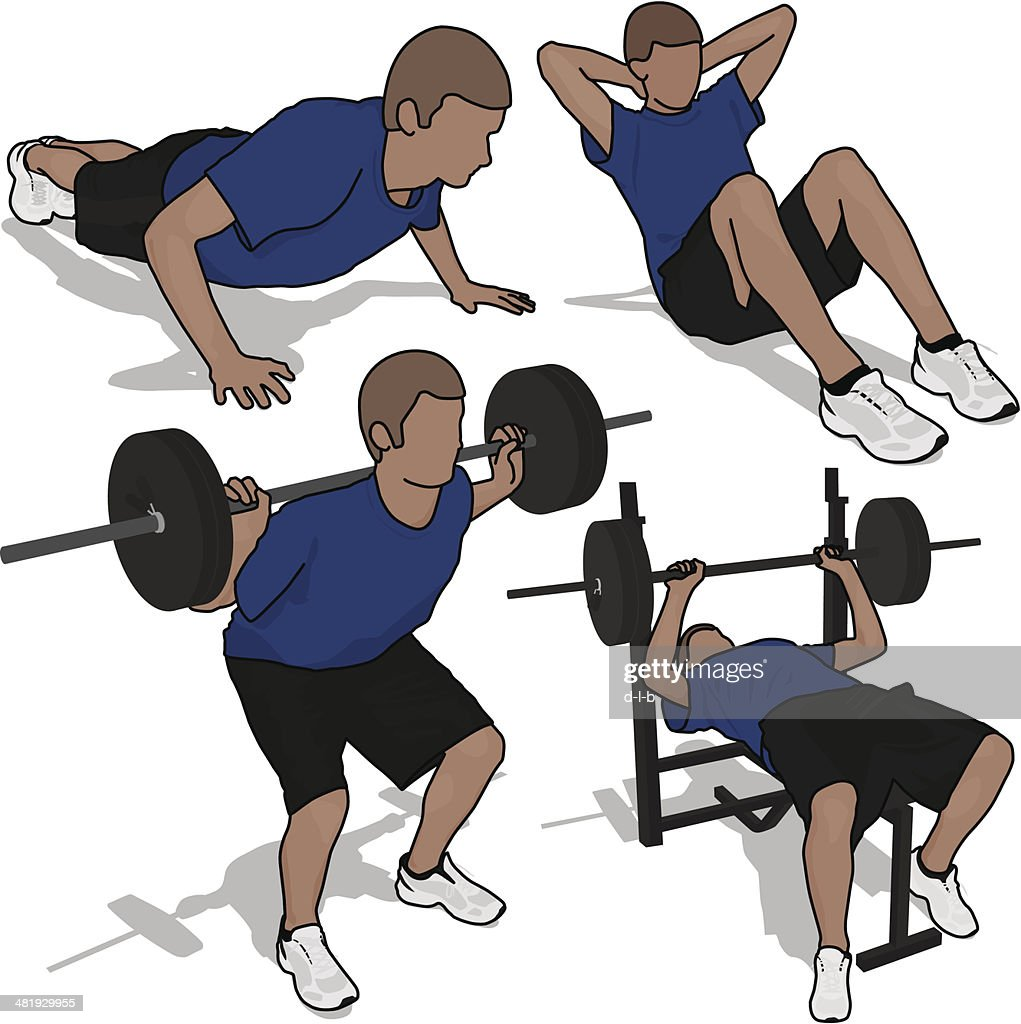 Young Man Exercising : stock illustration