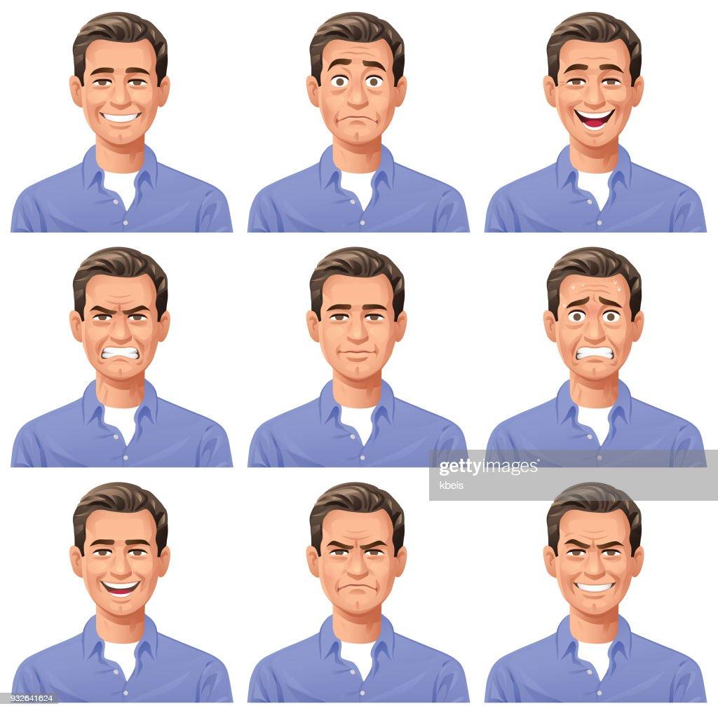 若い男の表情 : ストックイラストレーション