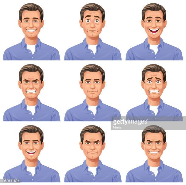 young man- facial expressions - men stock illustrations