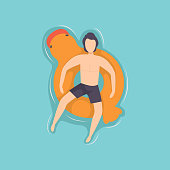 Young man floating on inflatable ring in the shape of duck in swimming pool, top view vector Illustration