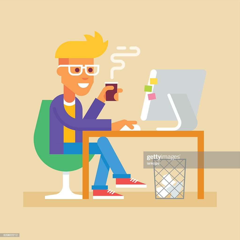 Young man is sitting  at desk with computer Vector