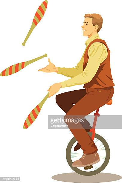 young man juggling on monowheel with smile - juggling stock illustrations, clip art, cartoons, & icons