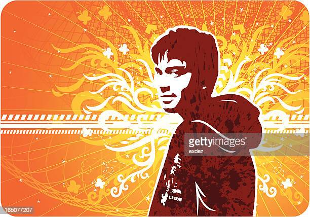 young man looking in hot background - modern rock stock illustrations