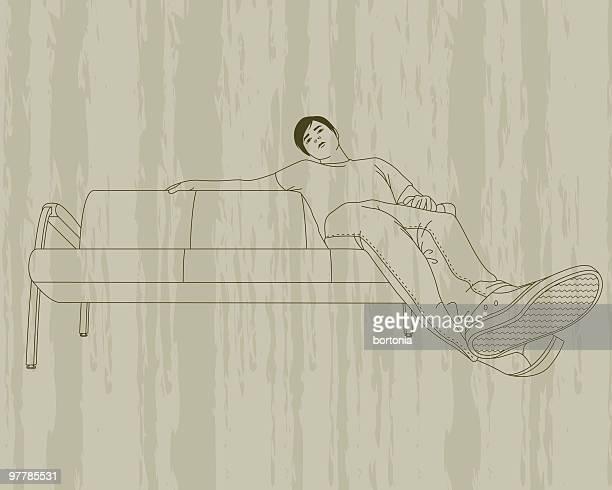 illustrations, cliparts, dessins animés et icônes de jeune homme sur un canapé - mou