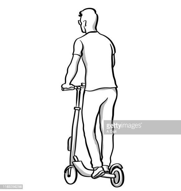 illustrations, cliparts, dessins animés et icônes de jeune homme sur le scooter électrique - adulte