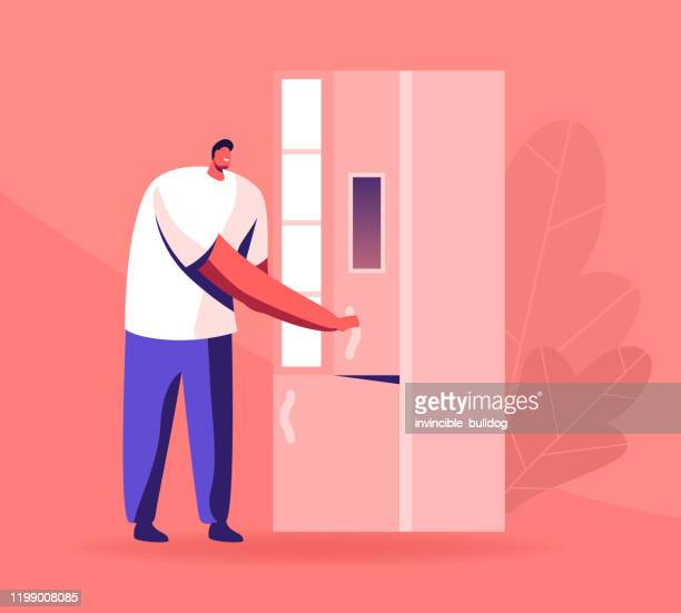 Young Man Opening Smart Refrigerator with Informational Display and Wireless Wifi Internet Connection. Household Artificial Intelligence Device for Kitchen, Iot Tech Cartoon Flat Vector Illustration