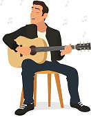 young man playing guitar and sings a song. vector illustration.