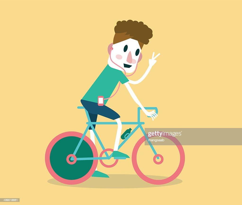 Young man riding a bike.