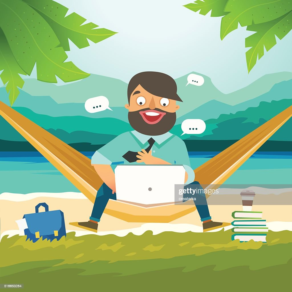 Young man sitting in hammock and working with laptop