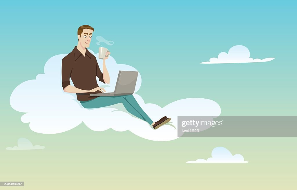 Young man sitting on the cloud.