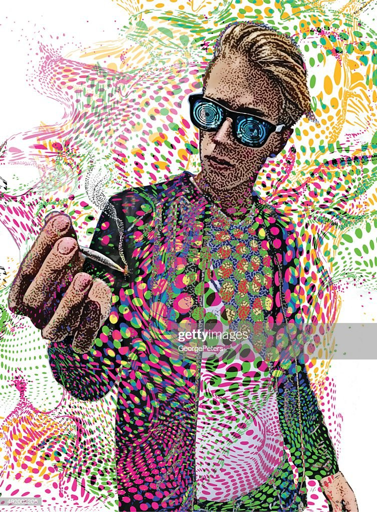 Young Man Smoking Marijuana and Psychedelic Background : stock illustration